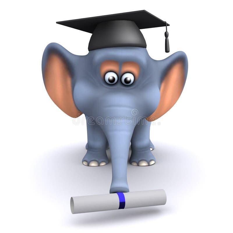 Absolvent des Elefanten 3d vektor abbildung
