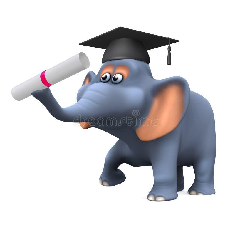 Absolvent des Elefanten 3d lizenzfreie abbildung