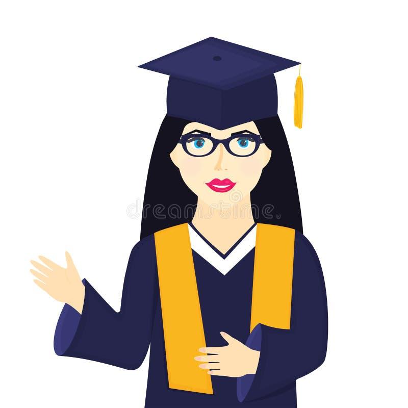 Absolvent des jungen M?dchens Hochschulin der Staffelungskappe mit Quaste, Brillen und Kleid vektor abbildung