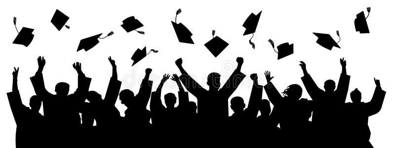 Absolwenci rzuca nakrętkę Sylwetek wysocy osiągnięcia Szkolny studencki kapeluszowy wektor royalty ilustracja