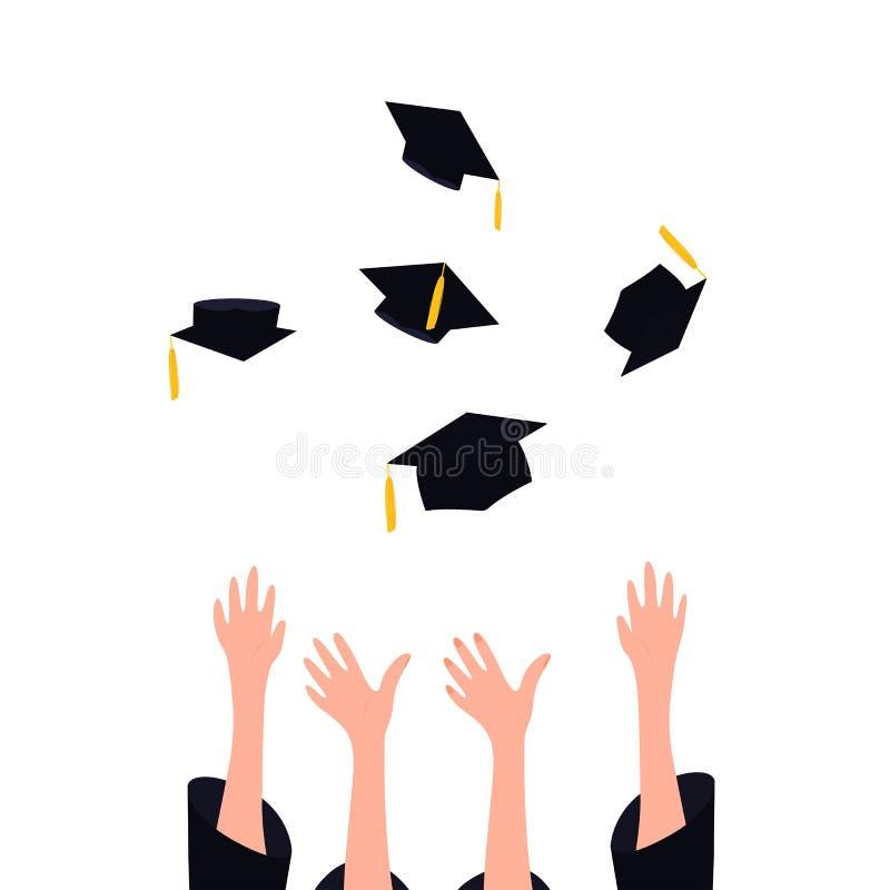 Absolwenci rzuca skalowanie kapelusze z kitką w powietrzu Uniwersytecki ceremonii pojęcie royalty ilustracja