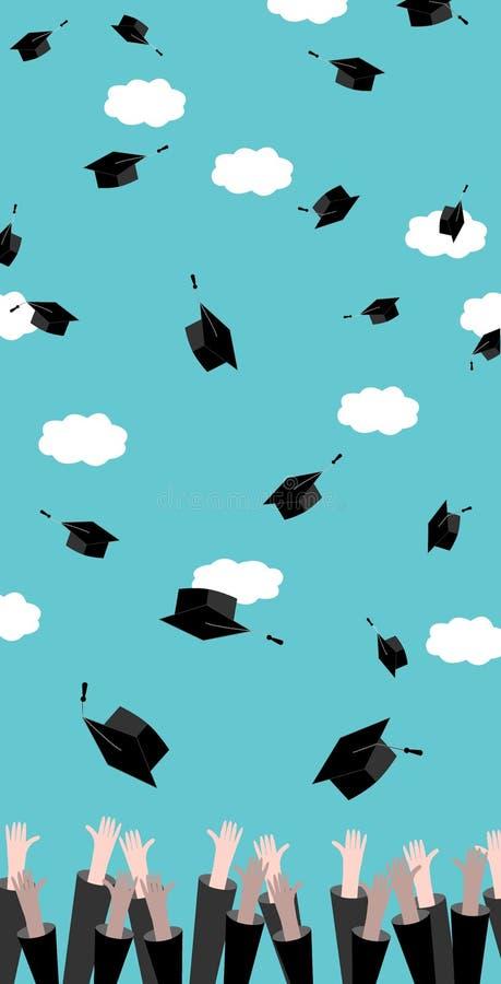 Absolwenci wręczają miotania skalowania kapelusze w powietrzu Świętowanie edukaci Magistrant/magistrantka sukces Płaski projekt,  ilustracji