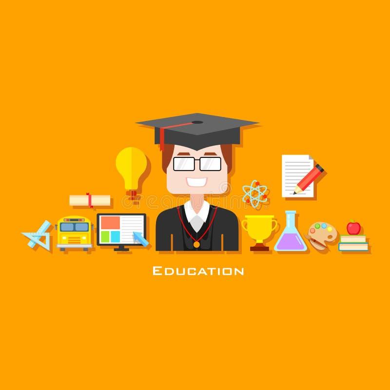 Absolwent z edukaci ikoną ilustracja wektor