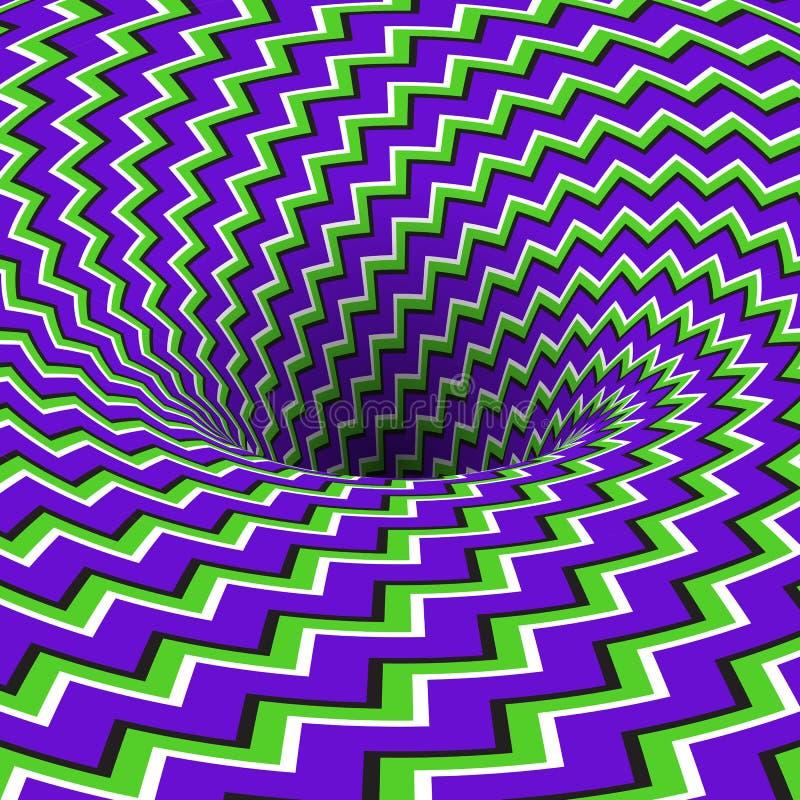 Absorberend gat van het patroon van zigzagstrepen Vectoroptische illusieachtergrond stock illustratie