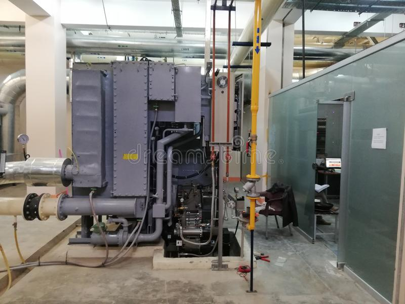 HVAC Absorption chiller. An Absorption chiller installed at Burns and Plastic Surgery Center in Peshawar Pakistan royalty free stock images