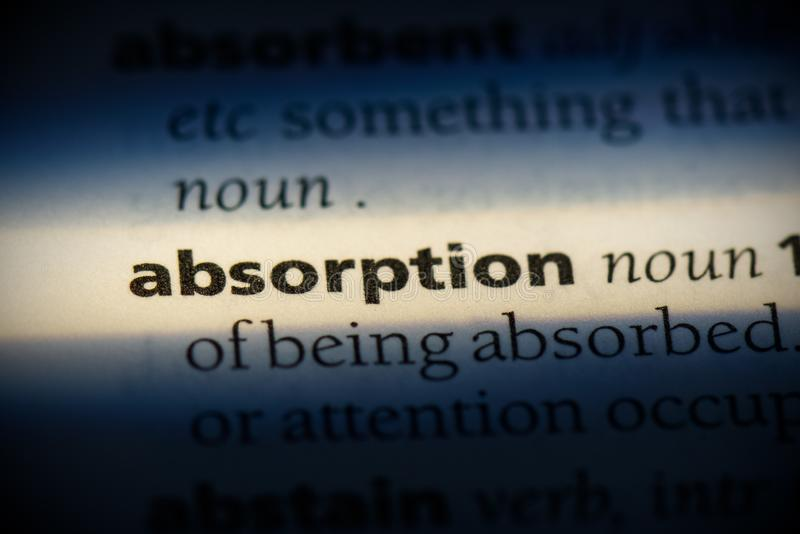 Absorption. Word in a dictionary.  concept, definition royalty free stock photography