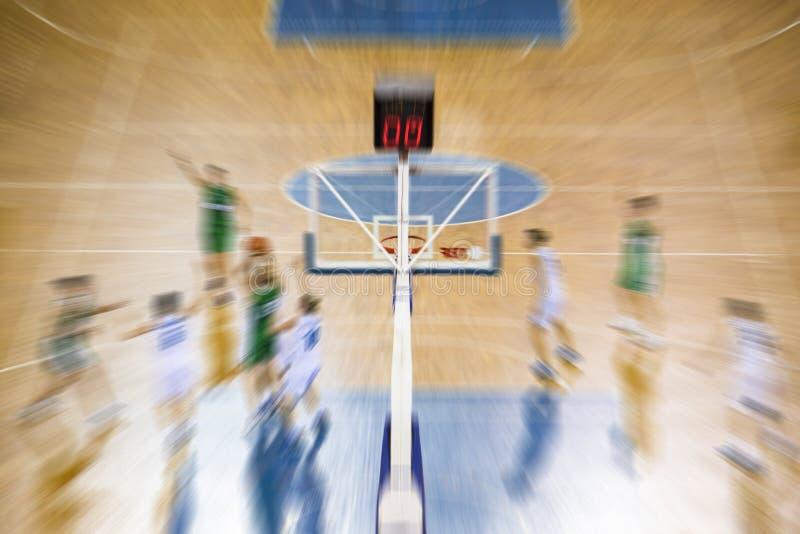Absract enfoca juego de baloncesto adentro de mudanza imagen de archivo libre de regalías