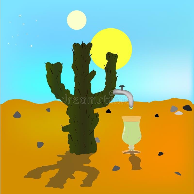 Absraktsiya oashägring Kaktus i ökenkällan av tequilaen suns två blå ljus sky Vektor illustration stock illustrationer