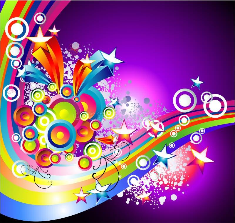 absrtact背景彩虹星形 向量例证