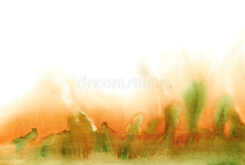 Absrtact watercolor autumn landscape on white background. vector illustration