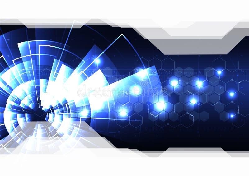 Abst tecnológico del fondo de la plantilla del vector del efecto luminoso del radar stock de ilustración