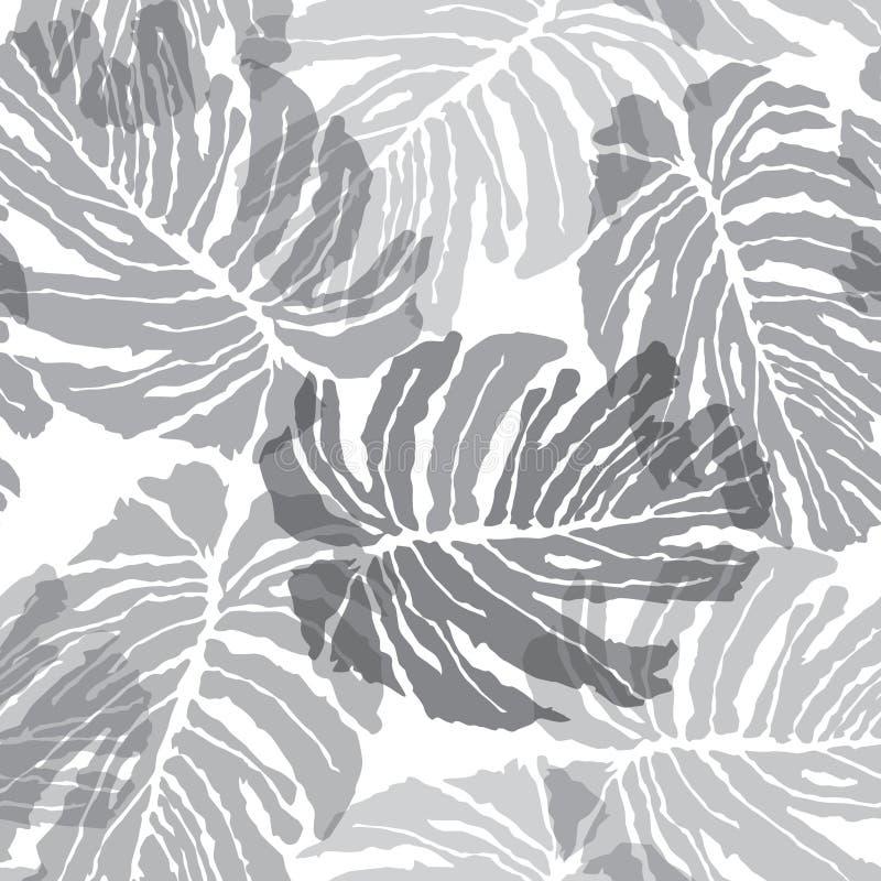 Abstact无缝的样式 花卉密林棕榈叶textu 库存例证