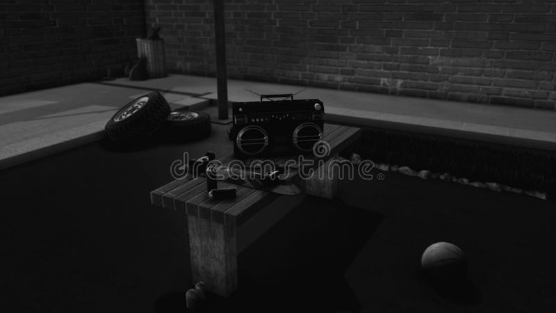 Abstact bench with old fashioned tape recorder, skateboard and spray paints lying on it. Animation. Teenager objects in. Abstact bench with old fashioned tape royalty free illustration