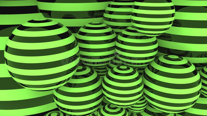 Glossy black and green striped balls 3D rendering. Abstact black and green spheres stock image