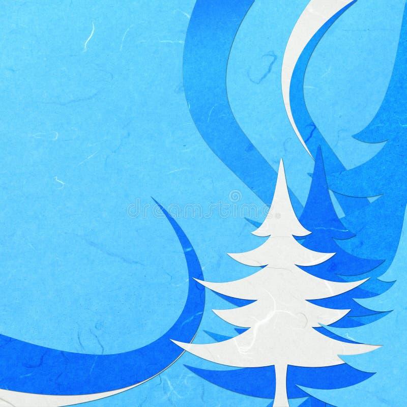 Abstact bleu coupé de Noël de papier de riz illustration de vecteur