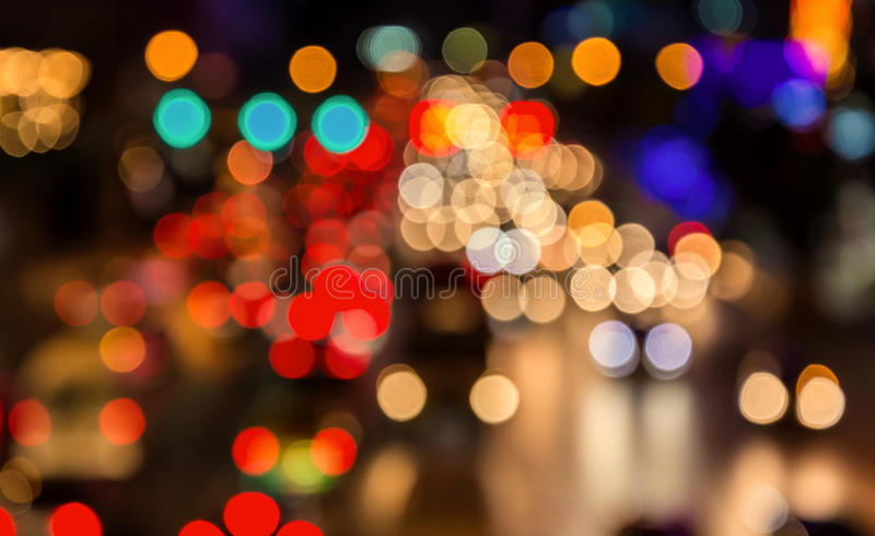 Abstact blur bokeh of Evening traffic jam on road in city.  royalty free stock photography