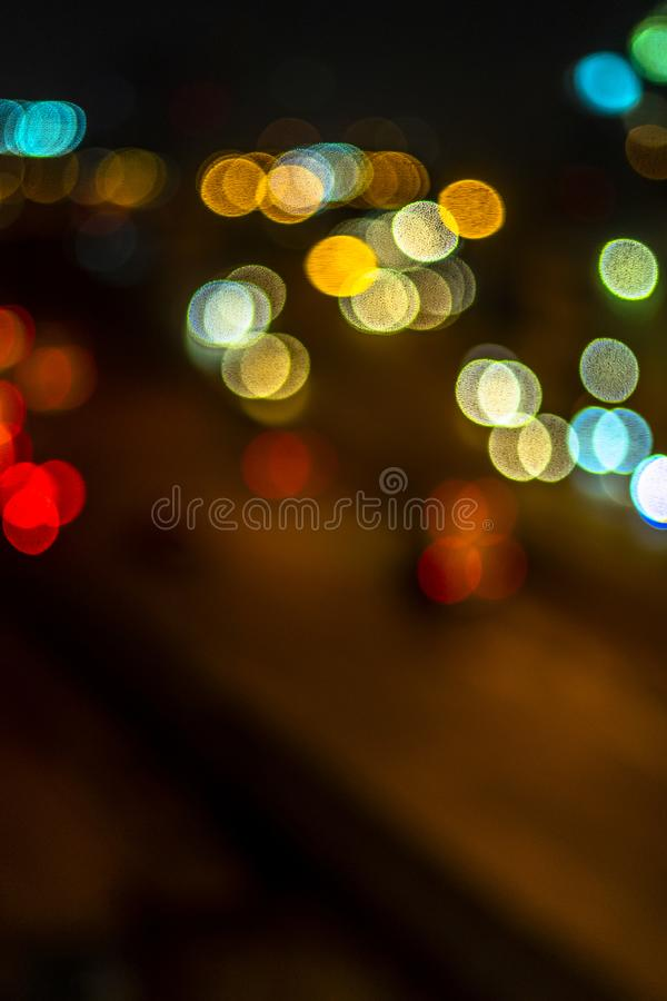 Abstact blur bokeh of Evening traffic on road in city., night scene., stock image