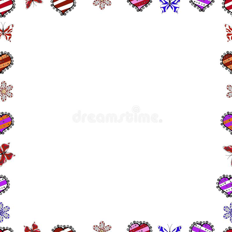 Illustration in white, black and red colors stock illustration