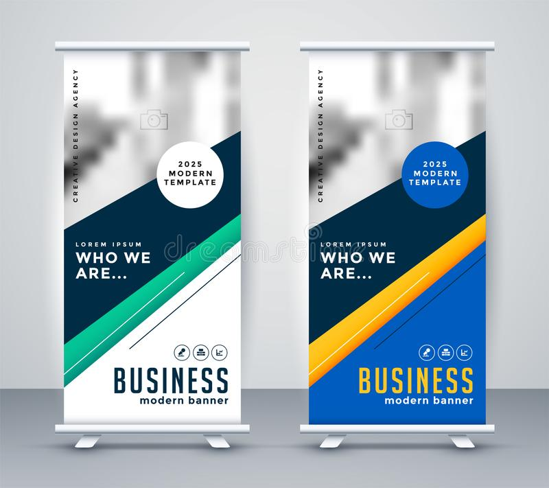 Abstact geometric rollup banner design royalty free illustration
