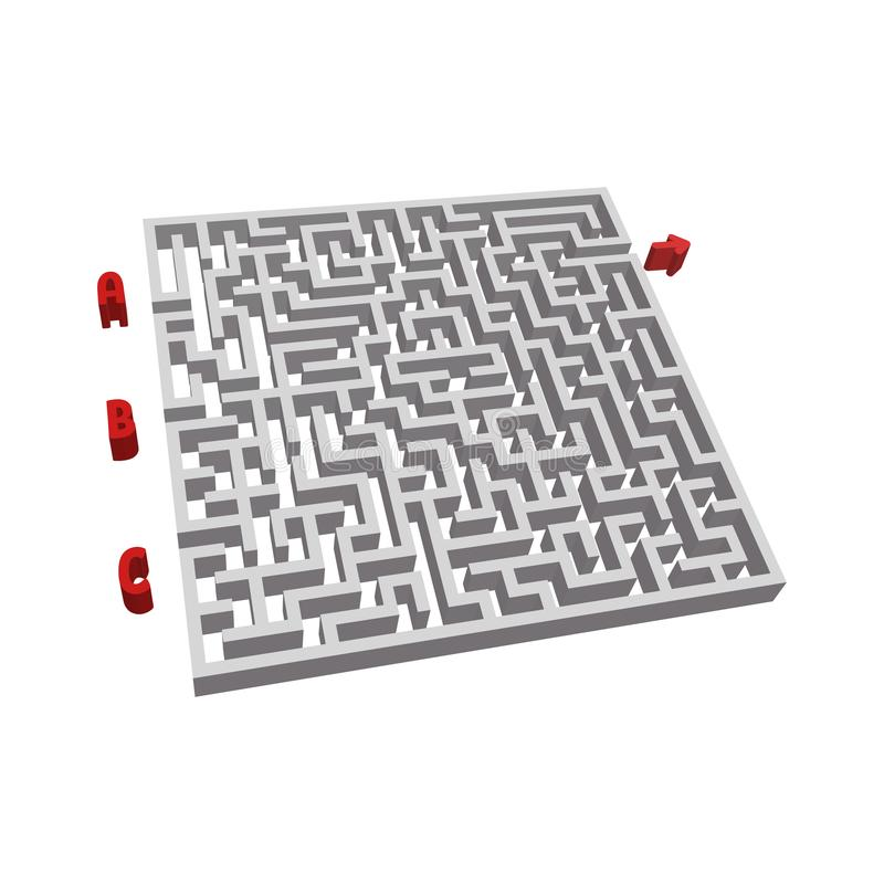 Abstact labyrinth. Game for kids. Puzzle for children. Maze conundrum. Vector illustration stock illustration