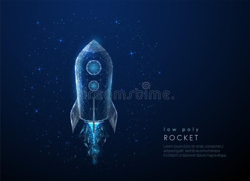 Abstact rocket flying in the space. Low poly style design royalty free illustration