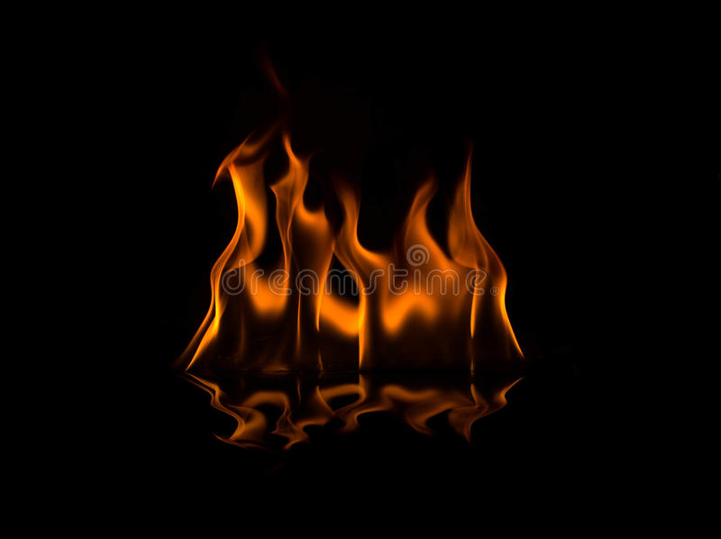 Abstact wallpaper fire flames on black background.  stock photo