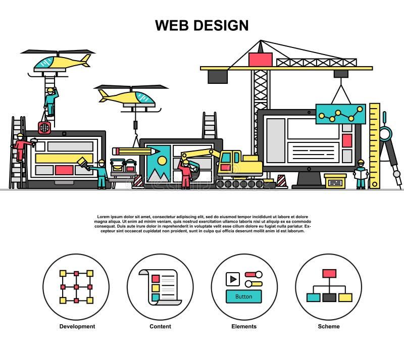 Abstact web design process, coding and development internet site. Modern editable flat line vector of abstact web design process, coding and development internet vector illustration