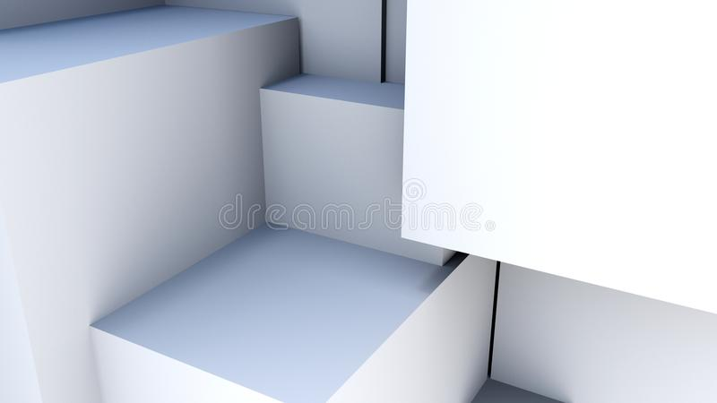 Abstact white cubes. 3d rendering background vector illustration