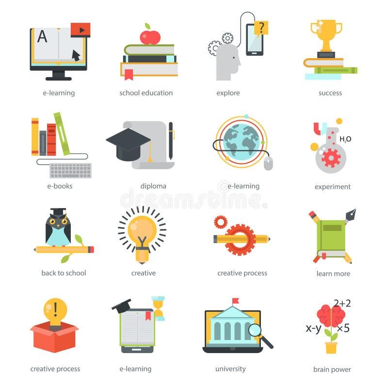 Abstands-Schulsymbole des on-line-Bildungsikonenvektors gesetzte lizenzfreie abbildung