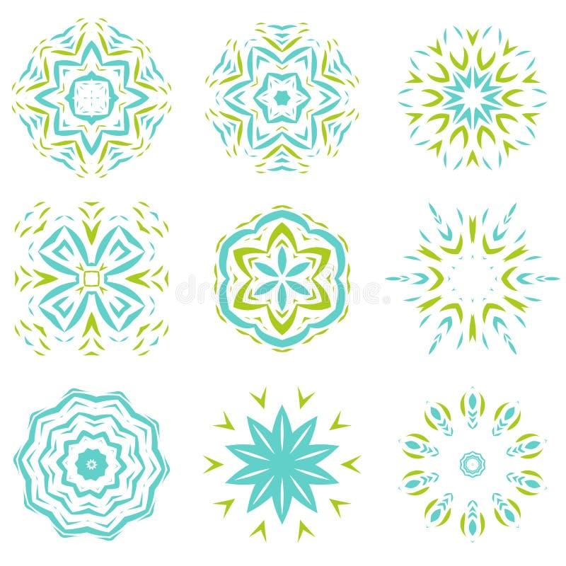 Abstarct自然绿色和蓝色装饰品对象集合 向量例证
