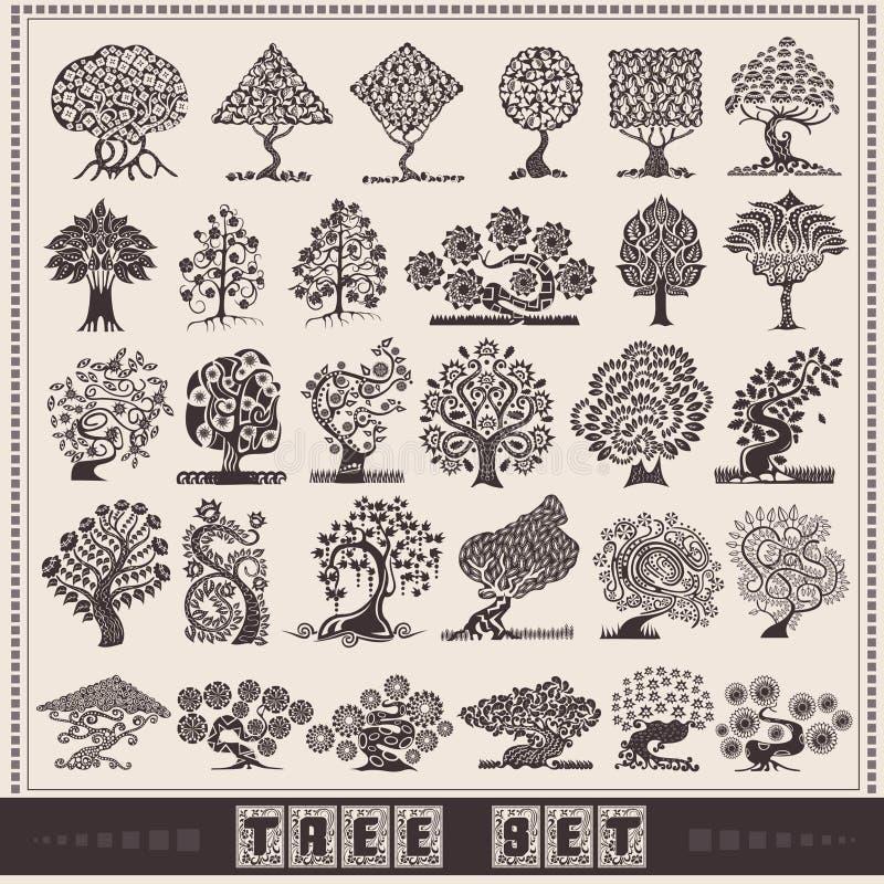 Abstarct drzewny duży set ilustracja wektor