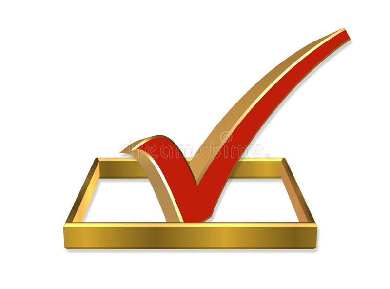 Abstimmung-Check-Kasten 3D stock abbildung