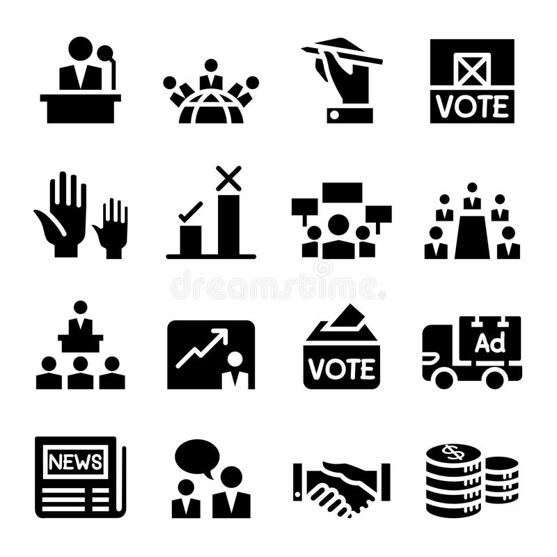 Abstimmung, Demokratie, Wahl, Ikone lizenzfreie abbildung