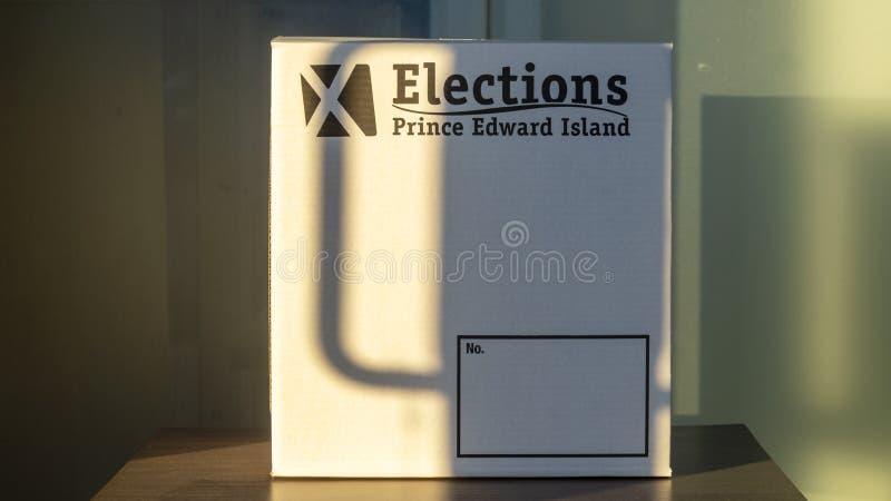 Abstimmung der Wahlen PEI für provinzielle Wahl 2019 im Sonnenuntergang stockfoto