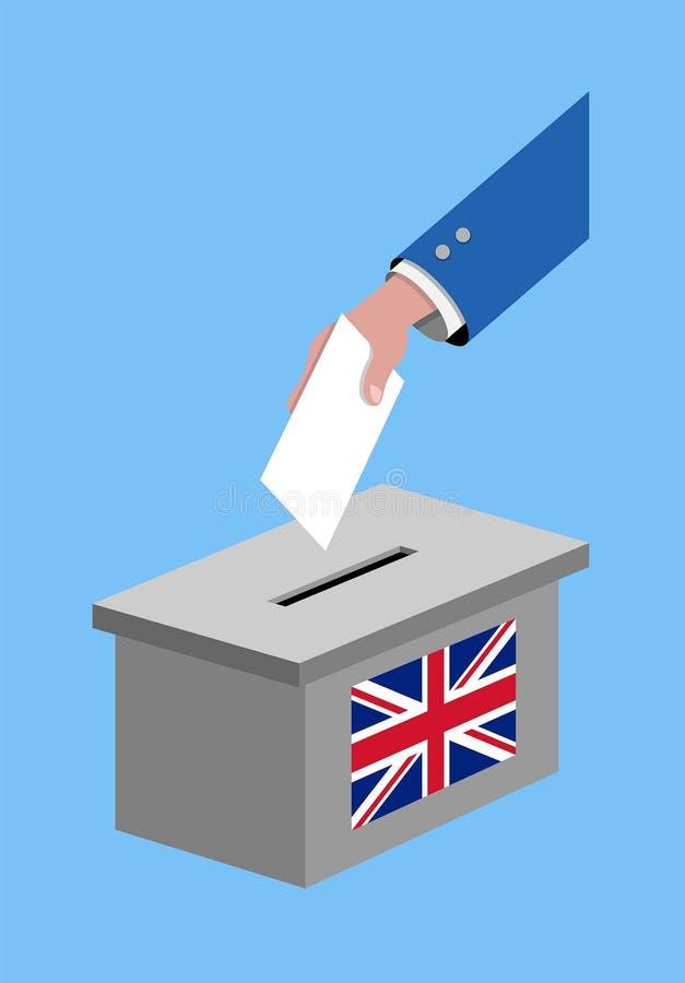 Abstimmung für britische Wahl mit Abstimmungsstimmzettel und Flagge Vereinigten Königreichs stock abbildung
