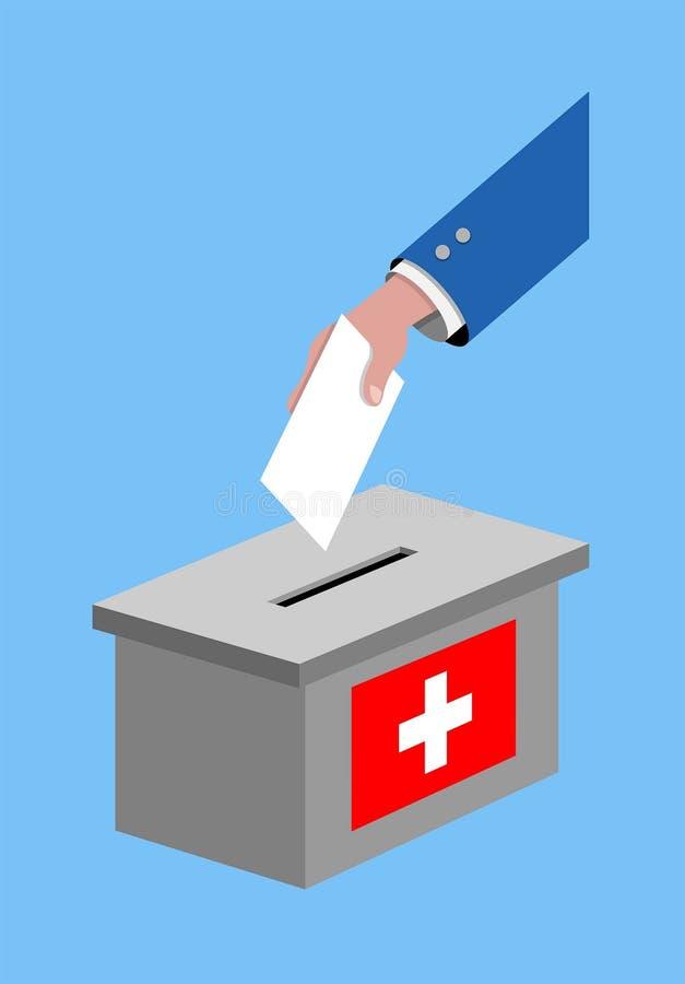 Abstimmung für die Schweiz-Wahl mit Abstimmungsstimmzettel und Schweizer Flagge lizenzfreie abbildung