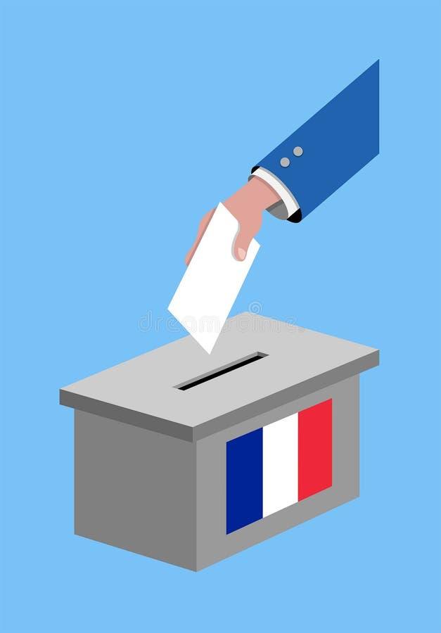 Abstimmung für Frankreich-Wahl mit Abstimmungsstimmzettel und französischer Flagge stock abbildung
