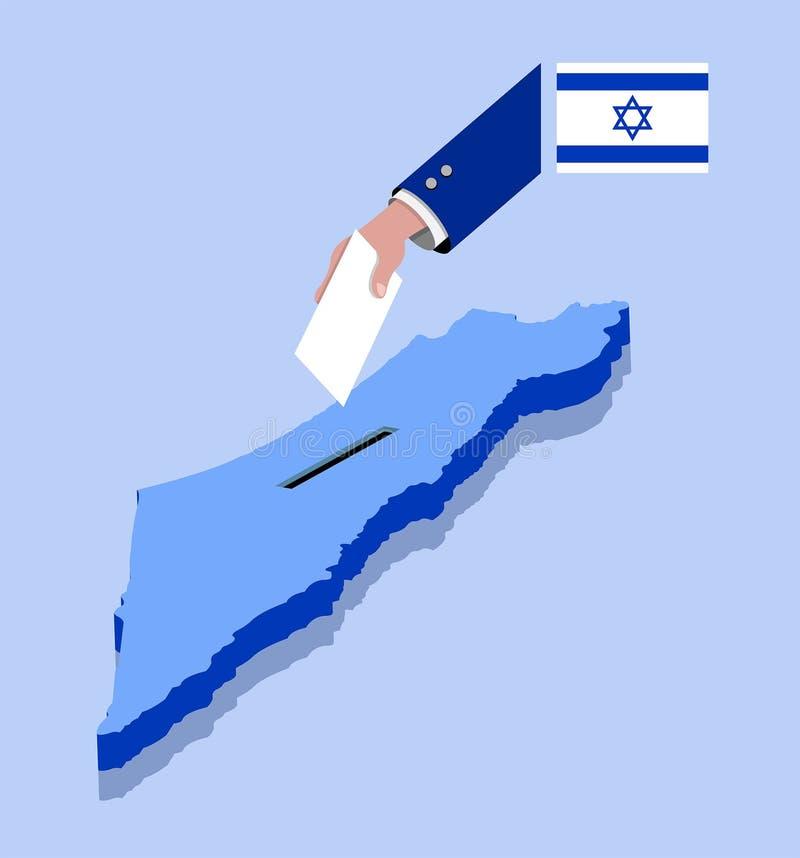 Abstimmung für israelische Wahl über einer Israel-Karte stock abbildung