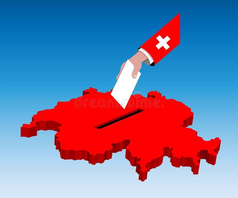 Abstimmung für Schweizer Wahl über einer die Schweiz-Karte vektor abbildung