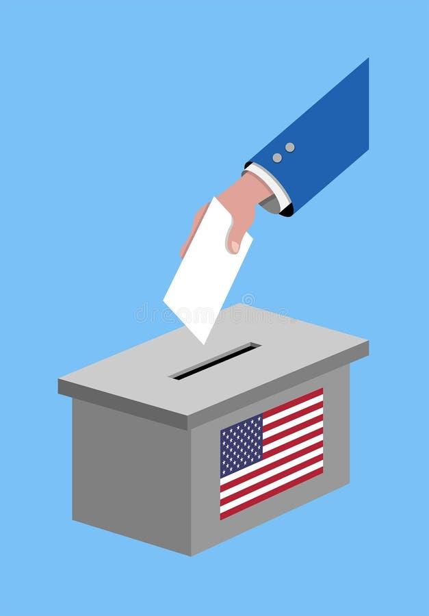 Abstimmung für Wahl Vereinigter Staaten mit Abstimmungsstimmzettel und USA-Flagge lizenzfreie abbildung