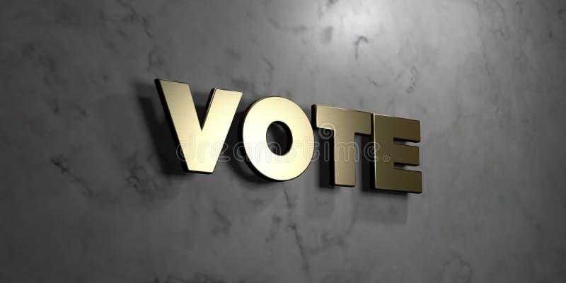 Abstimmung - Goldzeichen angebracht an der glatten Marmorwand - 3D übertrug freie Illustration der Abgabe auf Lager lizenzfreie abbildung