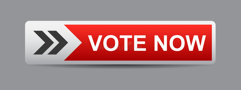 Abstimmung knöpfen jetzt Rot lizenzfreie abbildung
