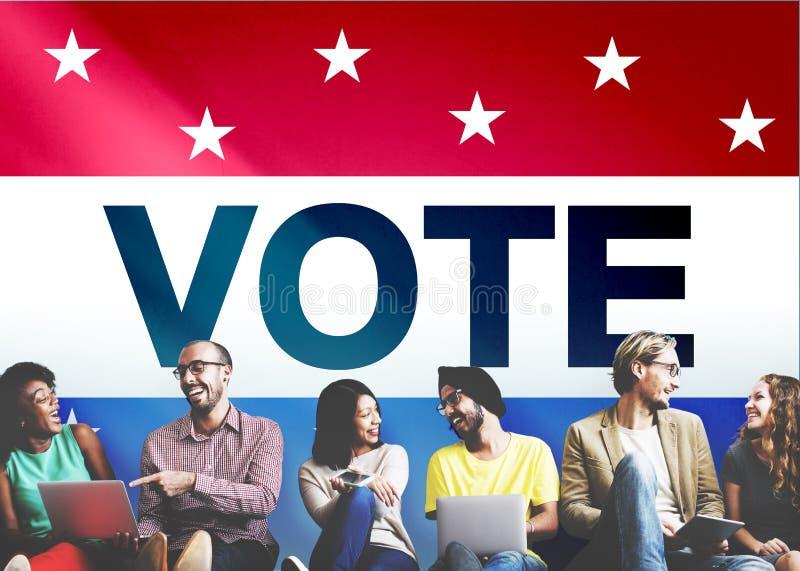 Abstimmungs-Abstimmungswahl-diplomatisches Entscheidungs-Demokratie-Konzept stockfotografie