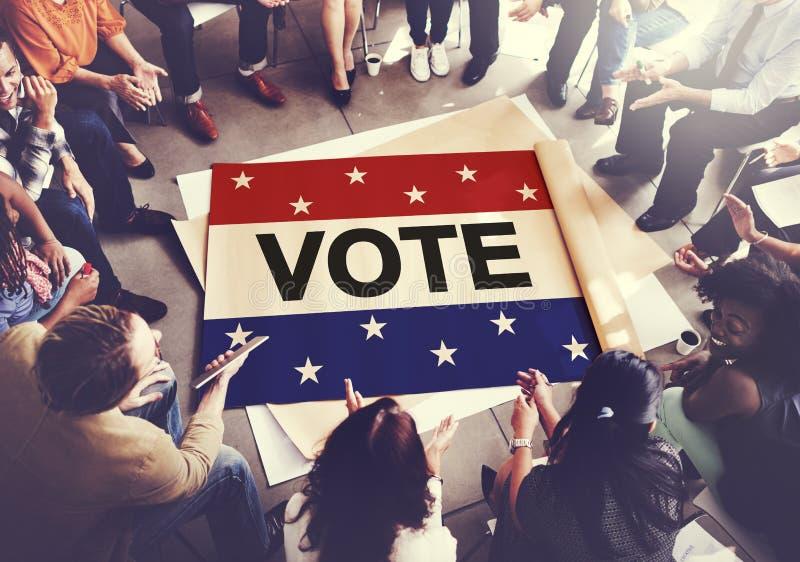 Abstimmungs-Abstimmungswahl-diplomatisches Entscheidungs-Demokratie-Konzept stockbild