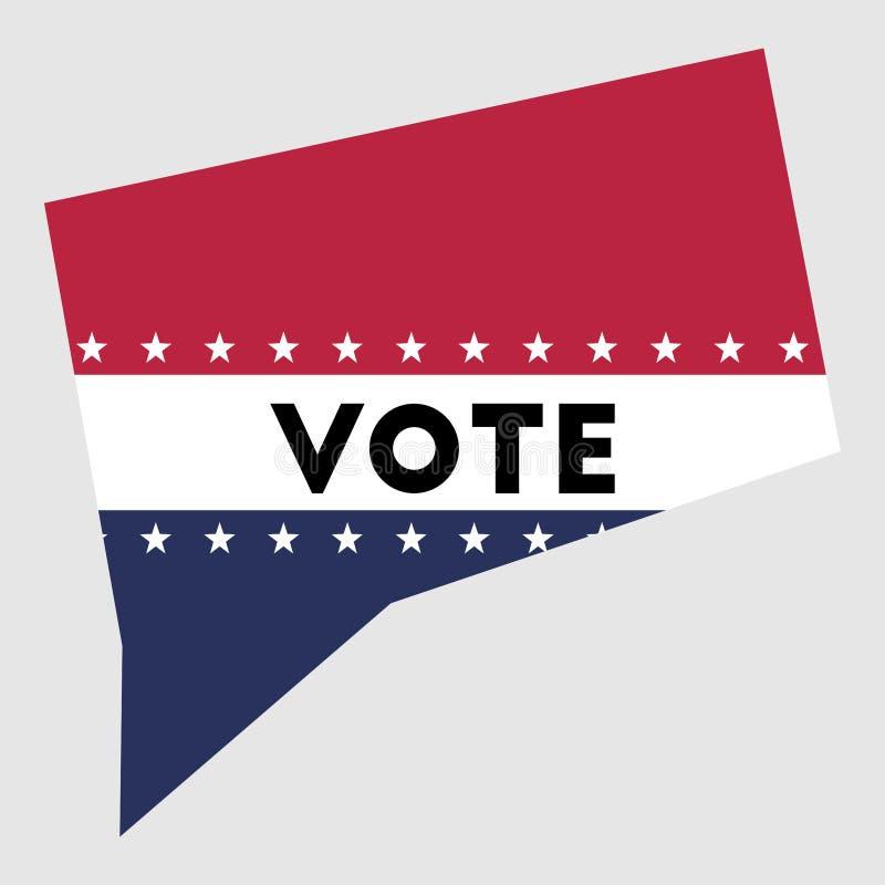 Abstimmungs-Connecticut-Staatskartenentwurf stock abbildung