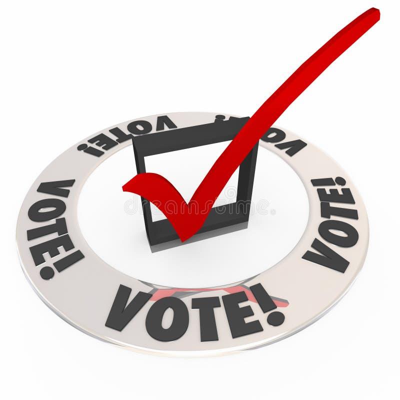 Abstimmungs-Kontroll-Mark Box Election Choose Popular-Wahl-Kandidat stock abbildung