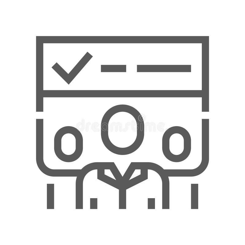 Abstimmungs-und Wahl-Linie Ikone lizenzfreie abbildung