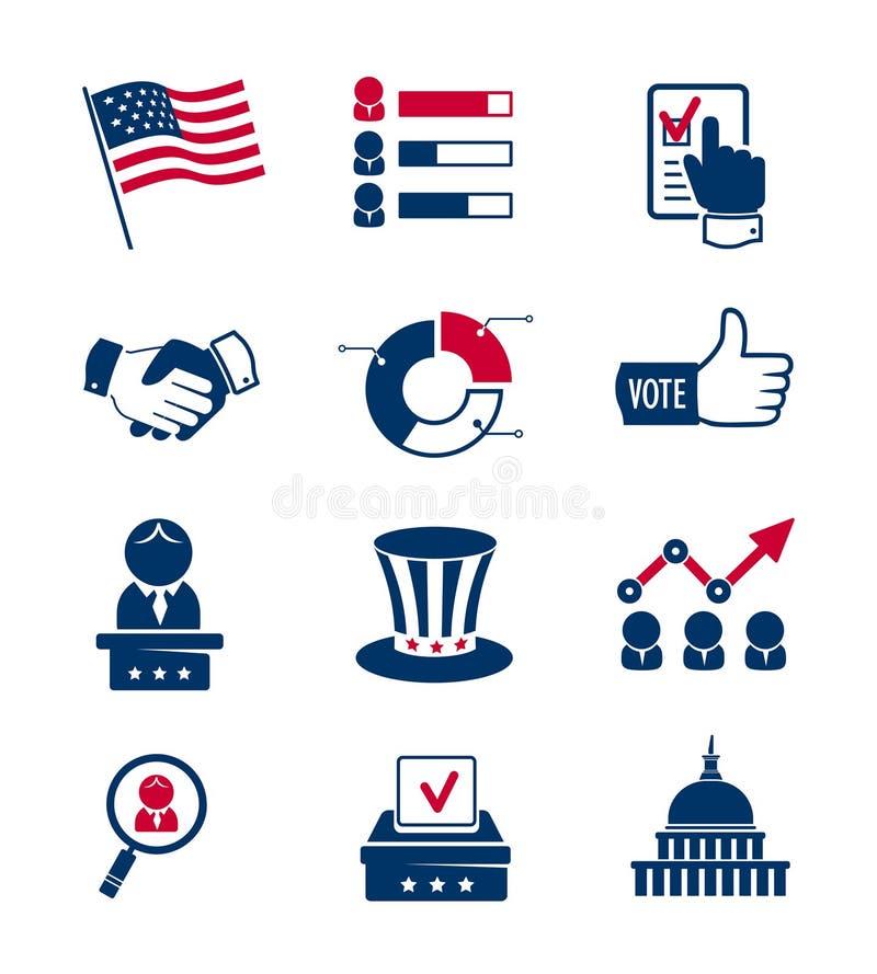 Abstimmungs- und Wahlikonen stock abbildung