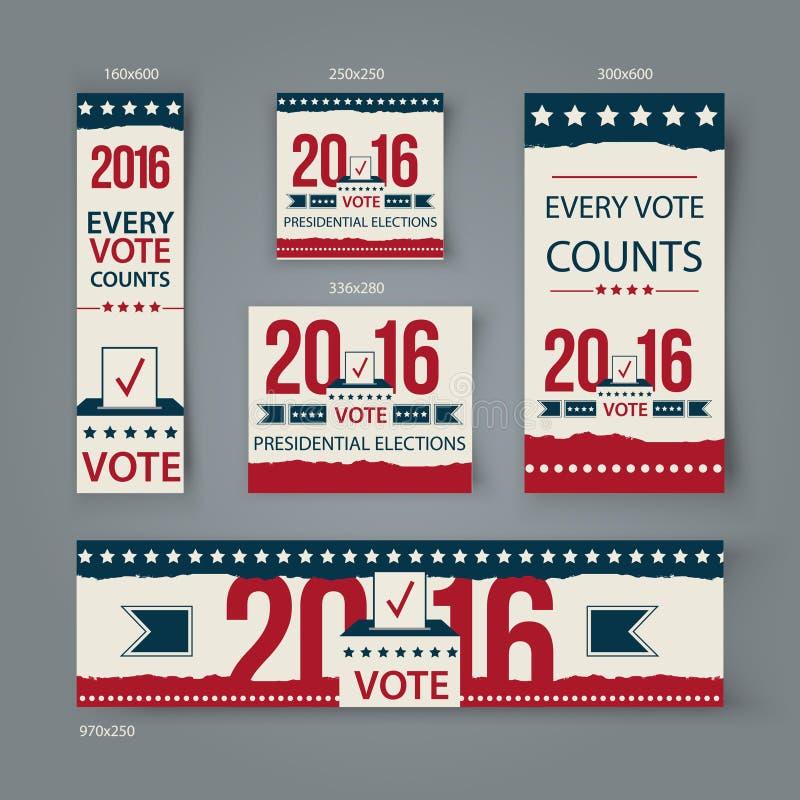 Abstimmungsfahnenvektorbühnenbild US-Präsidentschaftswahl im Jahre 2016 Wählen Sie 2016 USA-Fahnen für Website oder Social Media stockfoto