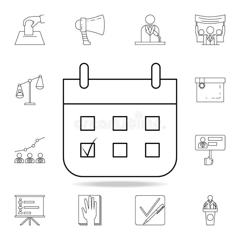 Abstimmungskalenderikone Ausführlicher Entwurfssatz Wahlelementikonen Erstklassiges Grafikdesign Eine der Sammlungsikonen für lizenzfreie abbildung